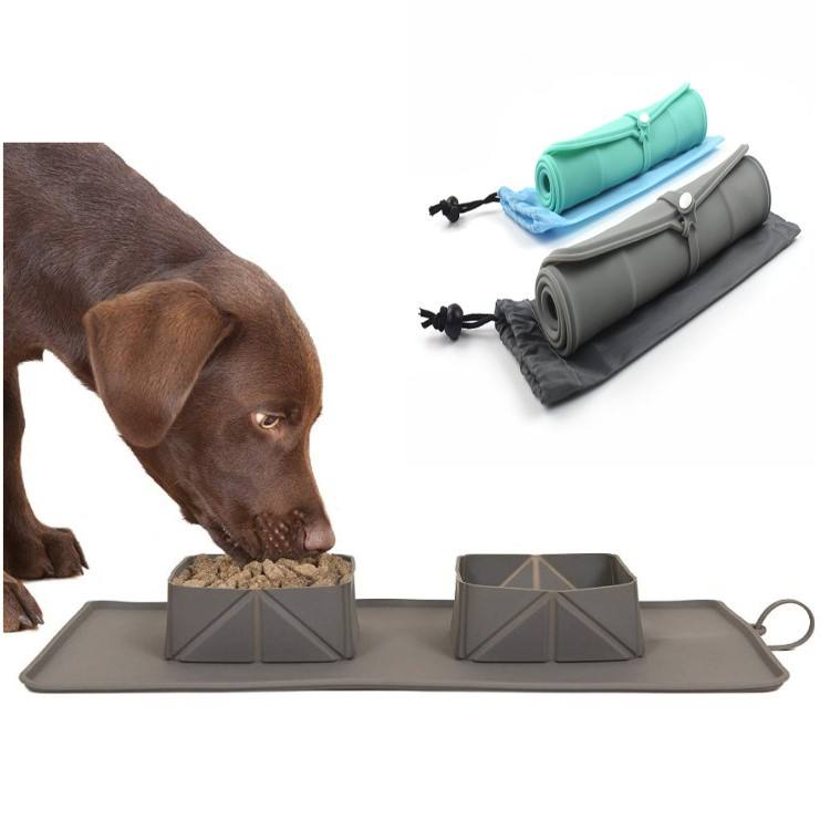 Pet Bowl Silicone Foldable Bowl Anti-skid Cat Food Plate Outdoor Travel Portable Pet Dog Food Bowl Water Cup