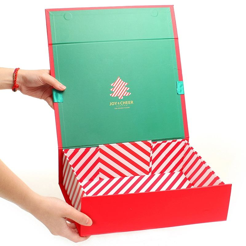 Xmas Hardcover Box For Present Packing Luxury Cardboard Can be Flat Packaging boxes Foldable Red Christmas Box for Eve