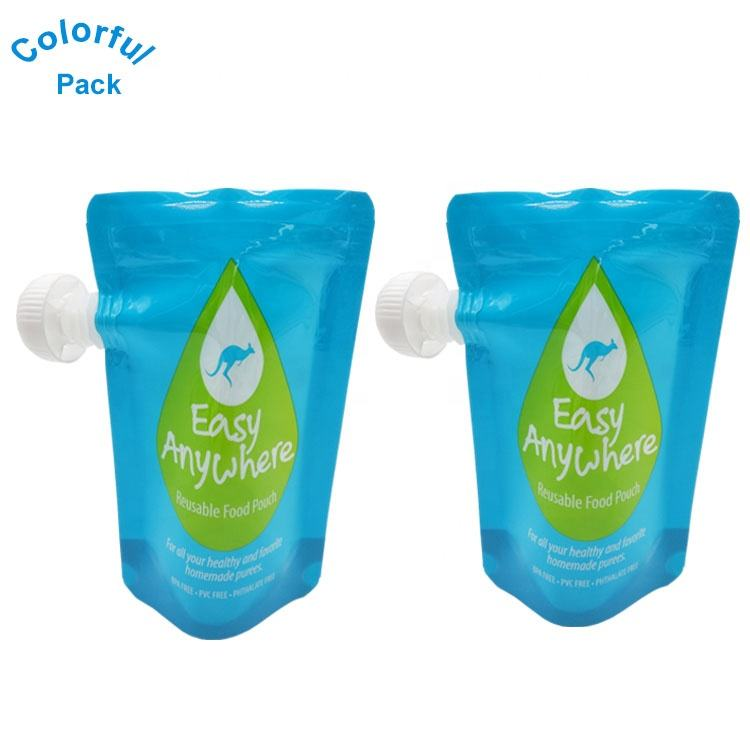 Eco friendly reusable Baby food spout pouch for juice/water/milk spout pouch Packaging bags