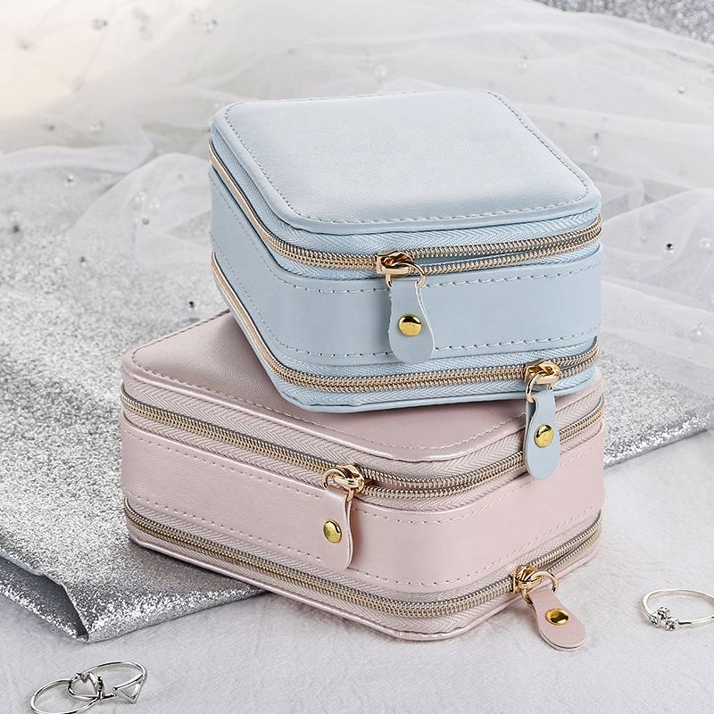 New Jewelry Box Two Zipper Portable Women Display Travel Leather Storage Gift Box Portable Storage Organizer Gift case