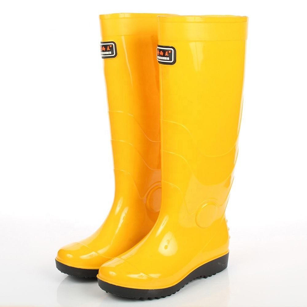 High Food Factory PVC Rain Boots Knee Boots Waterproof Yellow PVC Rain Boots