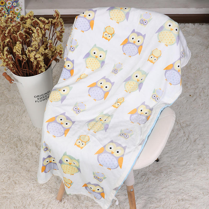 Amazon Best Seller Minky Baby Blanket Cotton Double Layer Dotted Baby Swaddle Wrap Blankets