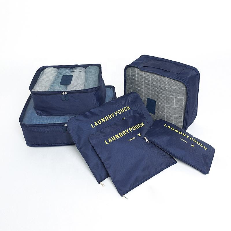 Wholesale promotion polyester clothes packing cube set bag in bag 6 pcs travel pouch set