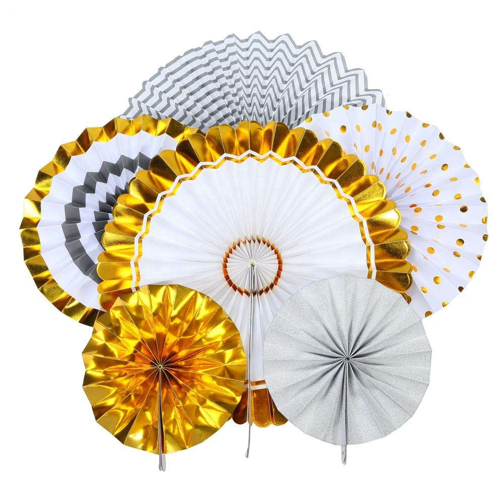 8Pcs/Lot Hot Sale Birthday Wedding Hanging Gold Flower Paper Fan Set For Party Decoration 80270