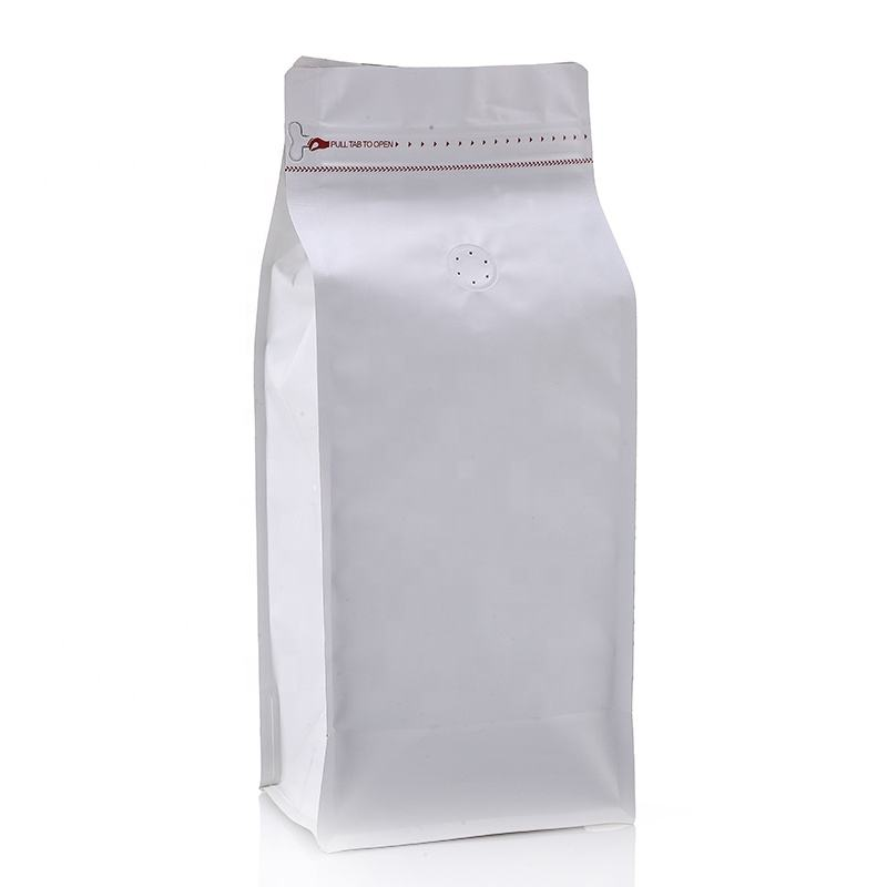 Reusable Pull Tab Zipper Matt White 16 oz 500g 1lb Indonesia Box Bottom Coffee Pouch Bag With Vent