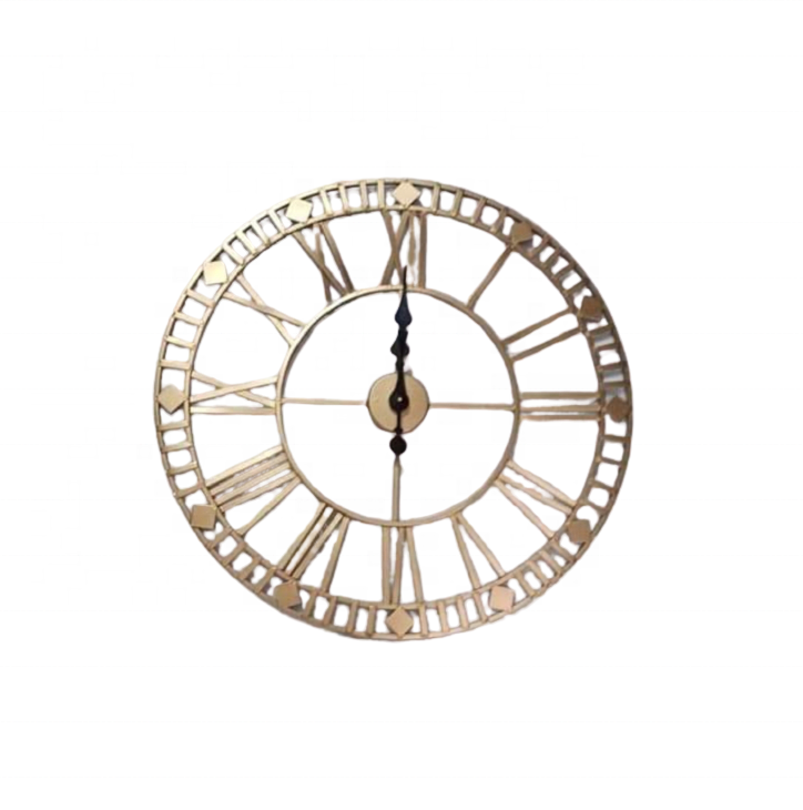 Roman Number Metal Clock Wall Decoration Piece for Home Restaurant Bar and Hotel By Handicrafts World Corporation India