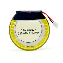 Rechargeable li-ion lipo 363027 3.7V 225mAh round lithium polymer Battery