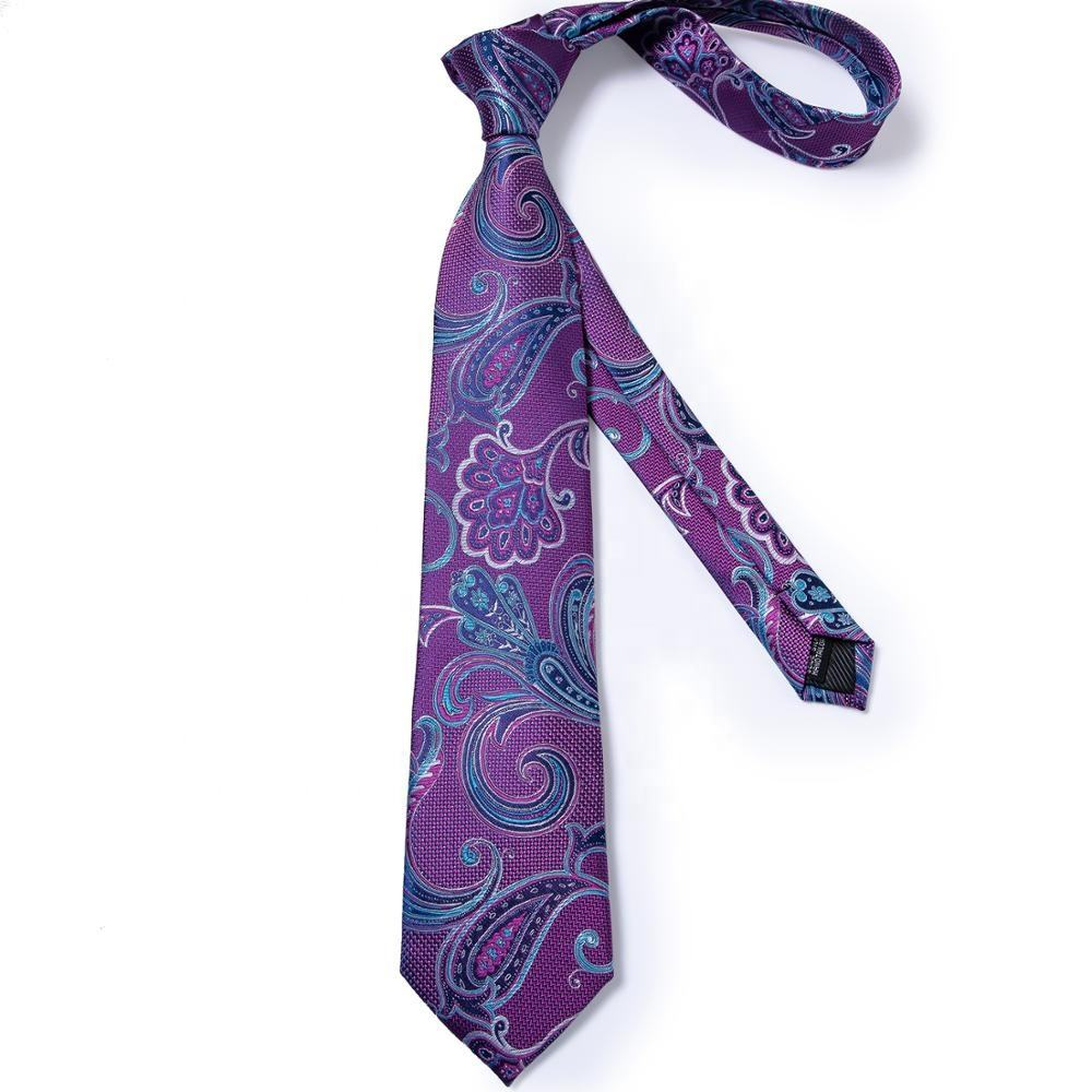Various Designs Custom Men Private Label Silk Ties Polyester Wholesale Purple Blue Paisley Necktie Set