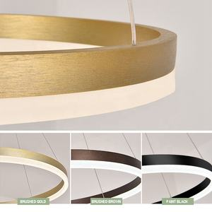 Nordic Simple art deco 3-tier acrylic ring hanging restaurant multi-circular ceiling lamp LED chandelier