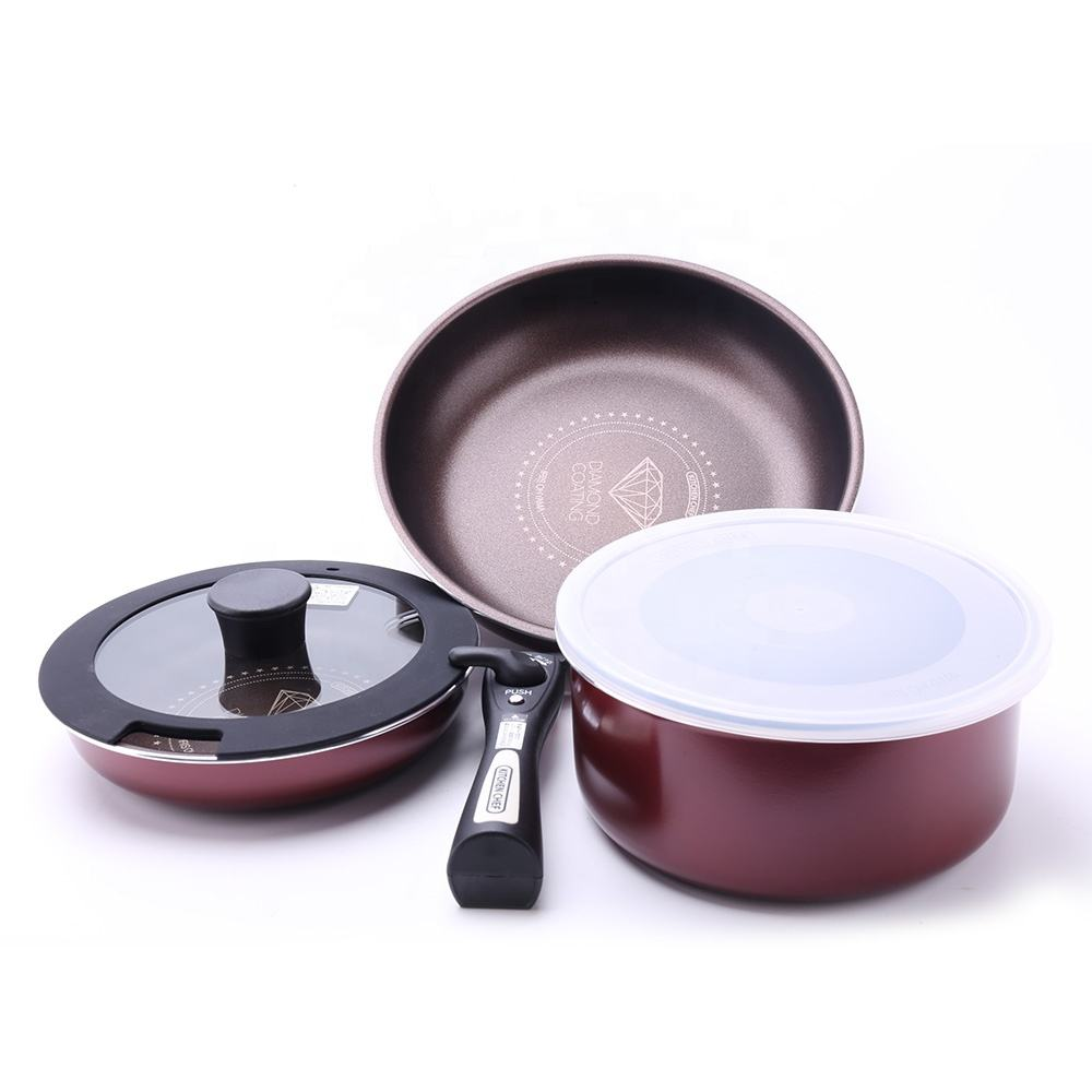 New 3PCS Nonstick Cookware Pans Pots Sets With Detachable Handle