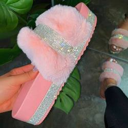 New Fashion plus size slide sandals fur slippers women fluff