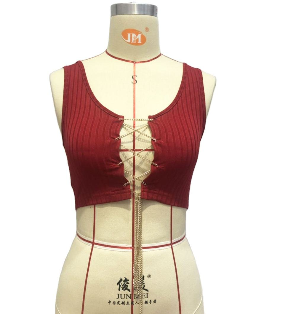 Ready To Ship Open Front Short Crop Sleeveless Red 2020 Sexy Tops Women
