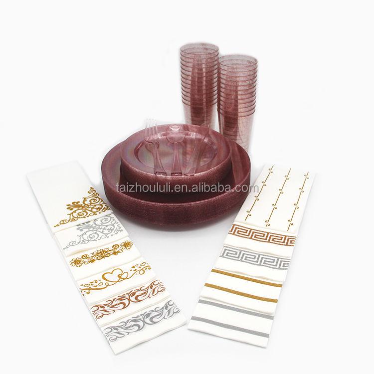Nuevo producto caliente Rosa brillo desechable de plástico de vajilla con tenedores para doméstica