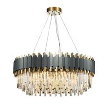Round rectangle gold bronze cristal chandeliers pendant lights living room luxury k9 crystal modern chandelier for hotel lobby