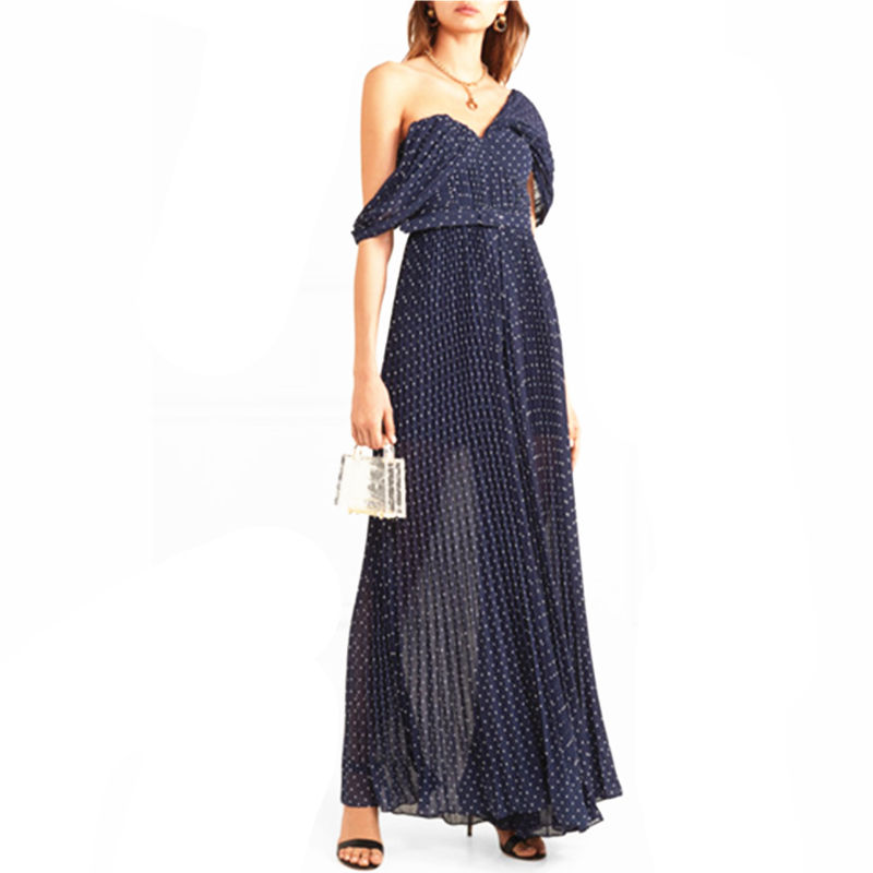 Fashion dark blue white dots one-shoulder pleated chiffon sexy women jumpsuits