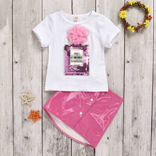 Toddler Kids Baby Girl Summer Clothes Short Sleeve White T-shirt +Mini PU Skirt Outfits Set