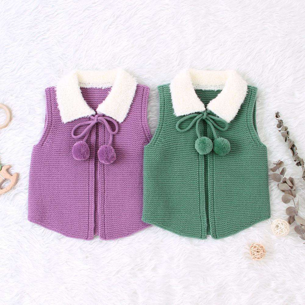 Ivy10528A European new design winter baby vest cardigan knitted Christmas girls kids sleeveless sweater vest