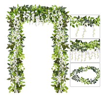 Artificial Flowers Vine 2 Pcs 6.6ft Silk Wisteria Ivy Vine Rattan Hanging Garland for Home Party Wedding Decor,