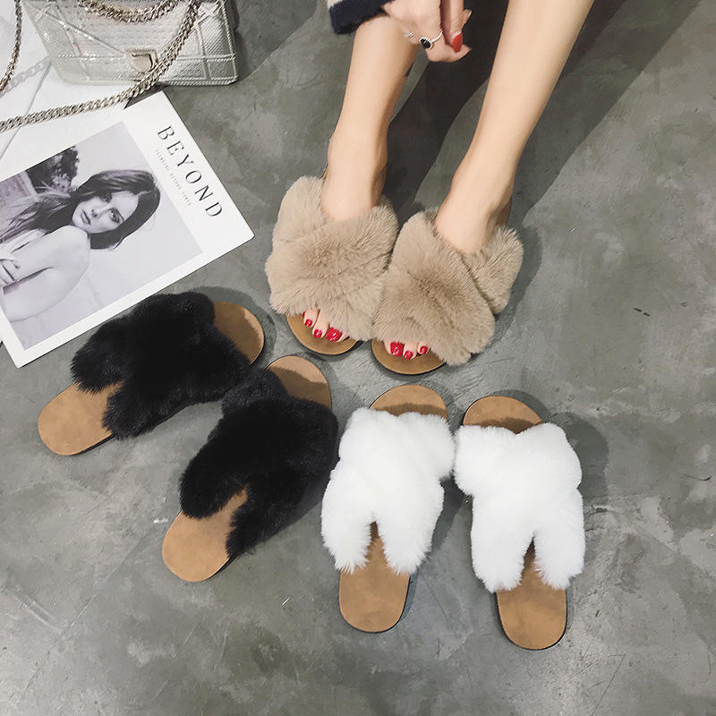 Fluffy Cross Strap Fashion Winter Slippers For Women Beautiful Ladies Female Girls Slippers and Sandals Shoes Fur Outdoor Rubber