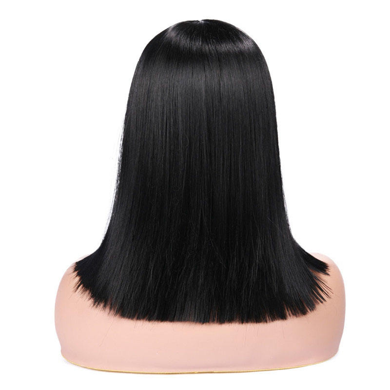 Natural Black Short Straight Hair Wig with Bangs Lace Front Wig For Fashion Black Women