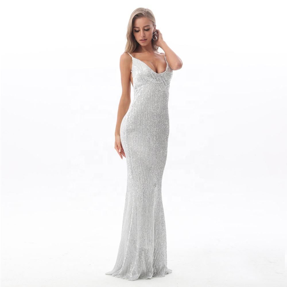 V Neck Padded Full Lining Open Back Party Dress Stretch Hollow Out Backless Sequins Wedding Evening Prom Dress