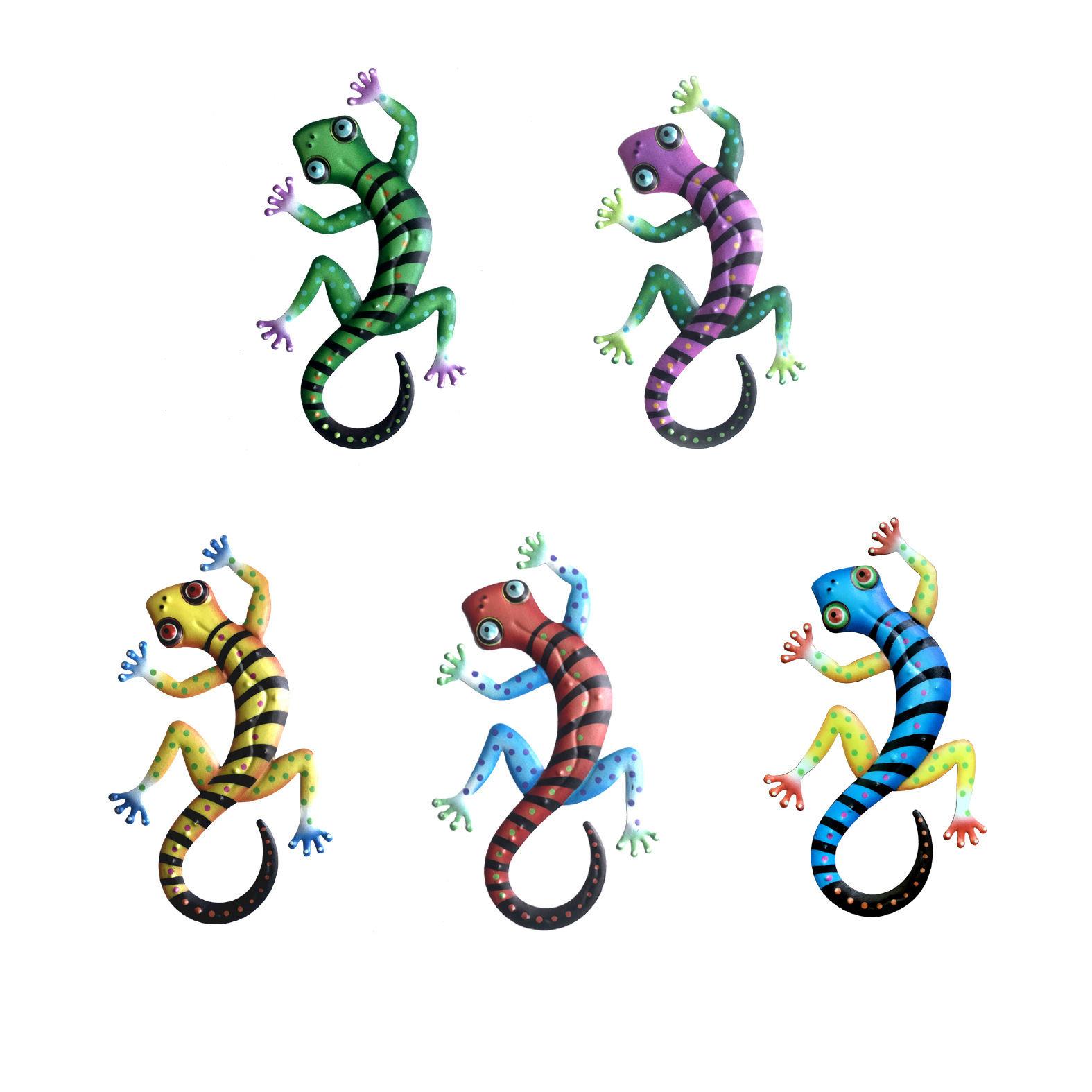 مجموعة من 5 المعادن أبو بريص جدار ديكور فني النحت الحيوان ملهمة شنق داخلي في الهواء الطلق للمنزل