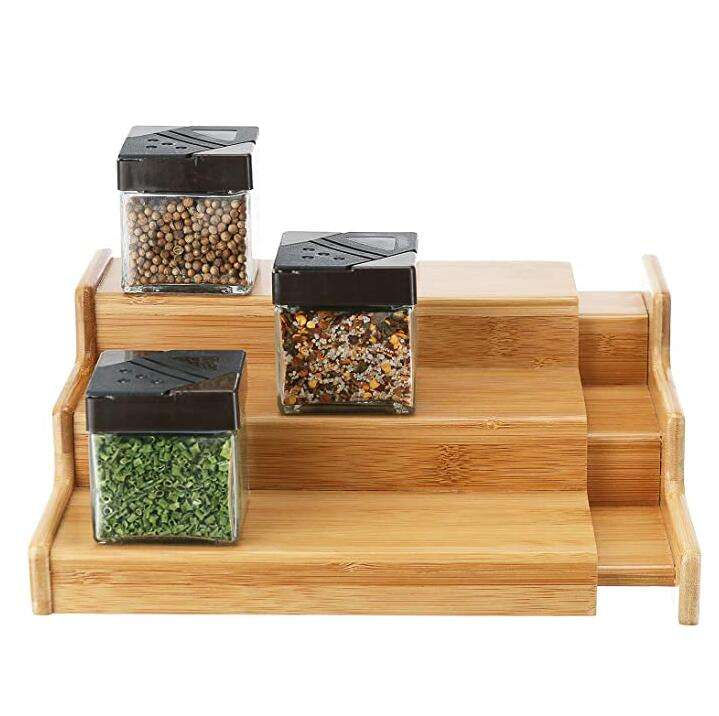 3 Tiered Bamboo Spice Rack Organizer For Cabinet Wooden Expandable Spice Rack Organizer