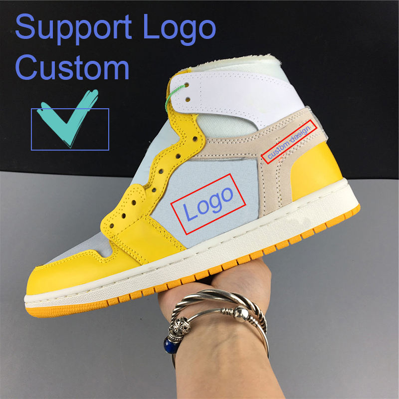 Drect Deal OEM Logo NRG Retro 1s white and yellow joint name Chicago Basketball Shoes for Men Chaussure Homme EU 36-45
