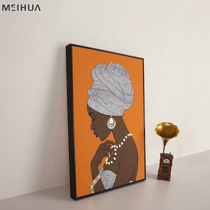 Custom modern chinese picture wall african canvas art with glittes and foiling poster frames shop