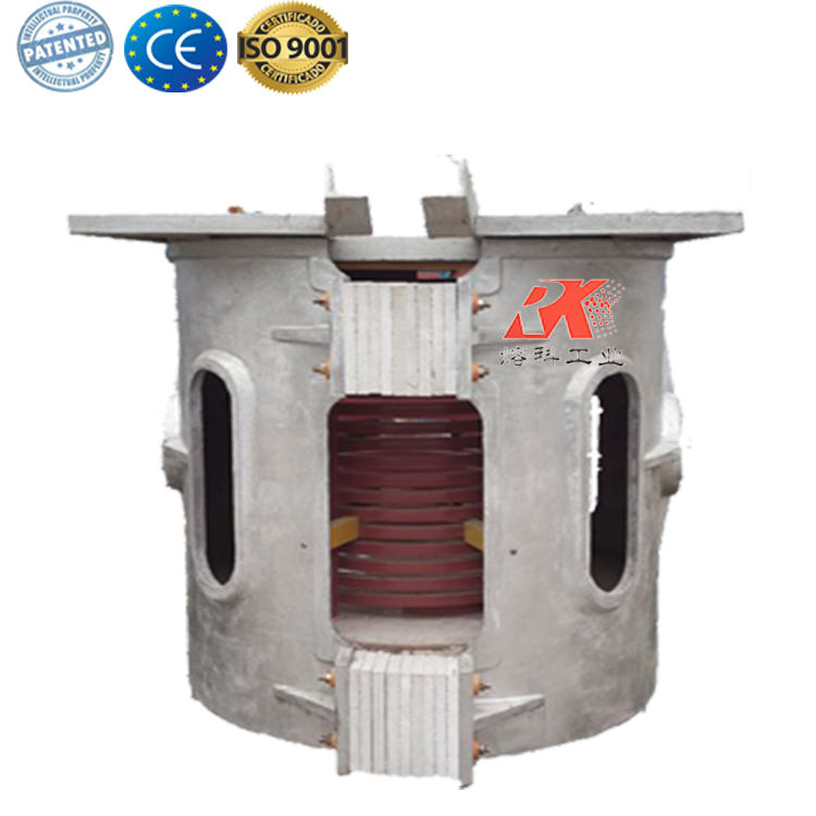 aluminium shell intermediate frequency 1Ton induction copper melting furnace for sale