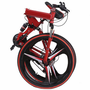 china wholesale folding mountain lightweight hi-ten folding bike mountain/custom 21 gear mtb bike folding bicycles