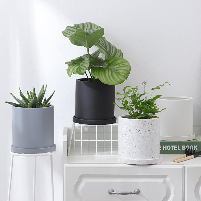 Ceramic Plant Pots 6 Inch Cylinder Planters with Connected Saucer Pots for Succuelnt Plants