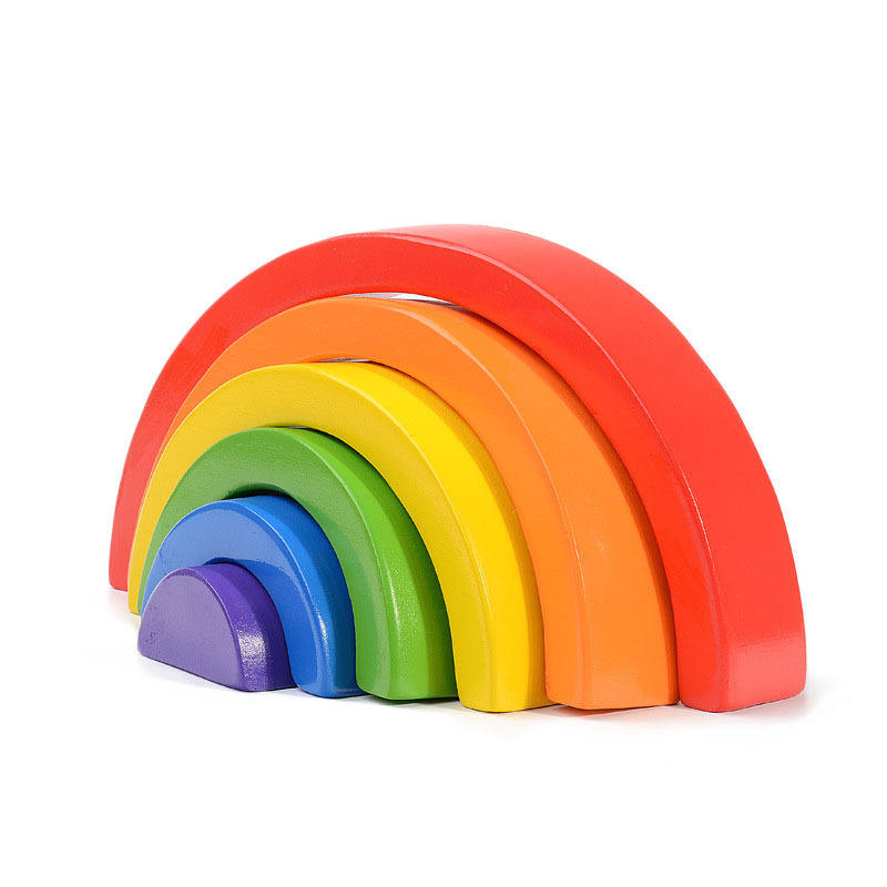 High quality wooden montessori rainbow stacking toys educational geometry building blocks toys
