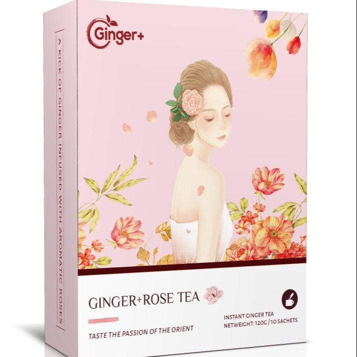 Rose brown sugar ginseng ginger tea drink for healthy nature berbal instant rose ginger tea granules
