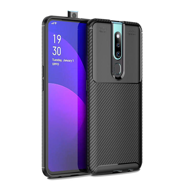 Viseaon Nieuwe Carbon Fiber Tpu Silicone Back Phone Cover Case Voor Oppo <span class=keywords><strong>F11</strong></span> Pro