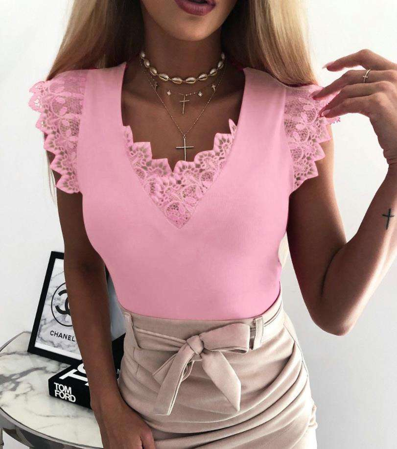 Zomer Sexy V-hals vrouwen Blouse <span class=keywords><strong>Ruches</strong></span> Mouwloze Kant Solid Blouses Slanke Top