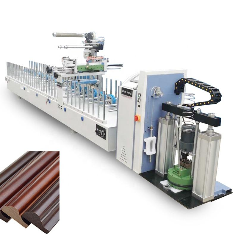 PVC strips PUR hot glue wood veneer profile laminating wrapping machine