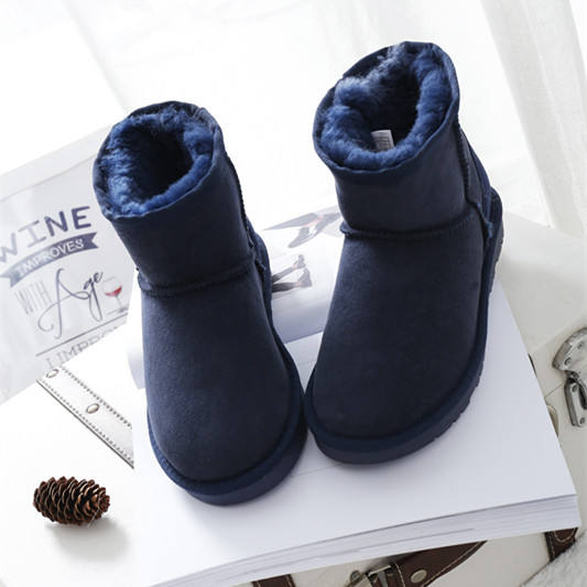 Wholesale good quality fashion beautiful women flat ankle warm real wool snow boots winter