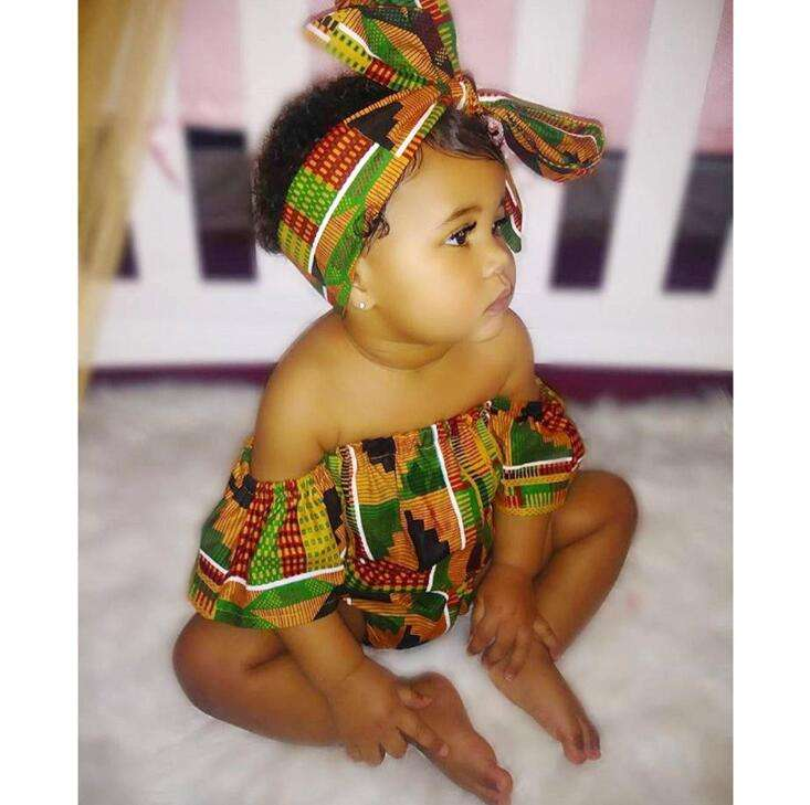 Baby Clothes Newborn Rompers Kids Children African Clothes Bohemian style Print Romper With Headband