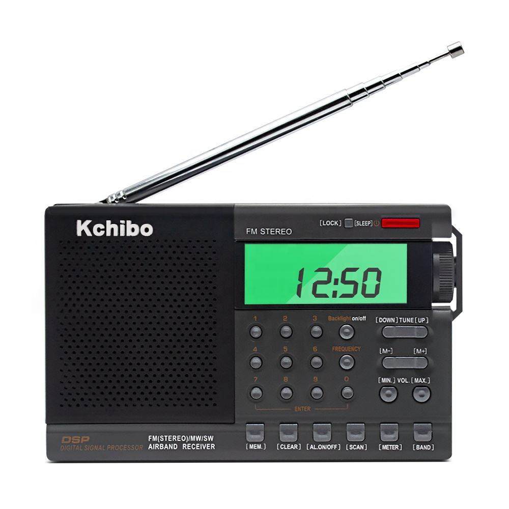 2019 new multi band portable FM MW SW airband digital radio with clock and alarm