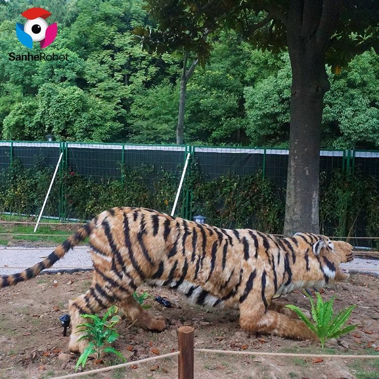 Outdoor Playground Attractive Real Size Artificial Animatronic Tiger