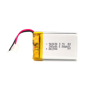 UL1642/IEC62133/KC/ UN38.3 certified rechargeable lithium polymer battery 3.7v lipo battery 240mah 502030