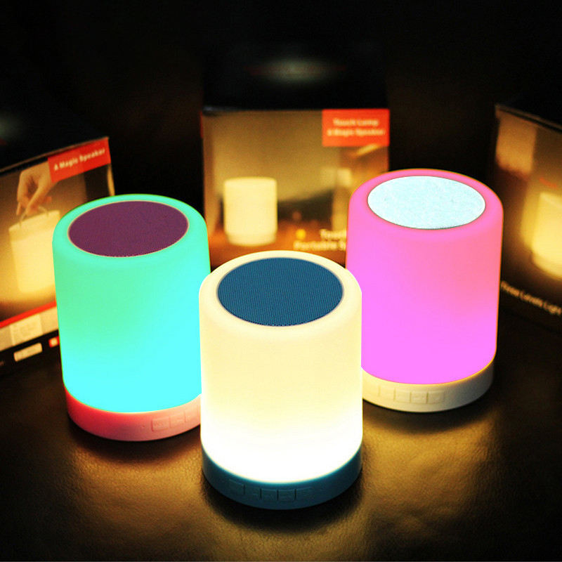 Biumart 5 in 1 smart portable led bedside desk lamp 12/24h colorful night light with wireless music lantern speaker