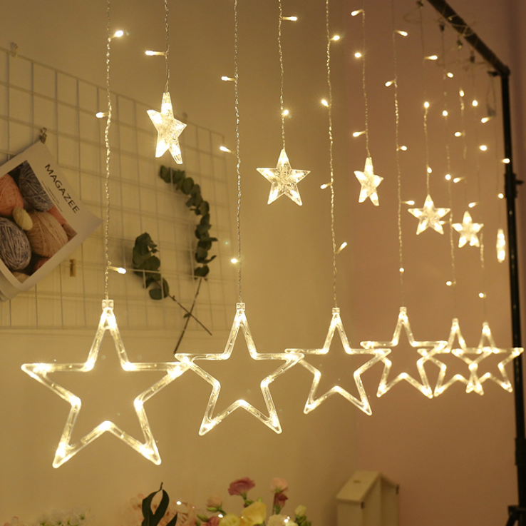 Christmas Star Holiday Time Icicle Curtain String Lights Icicle Light Decoration