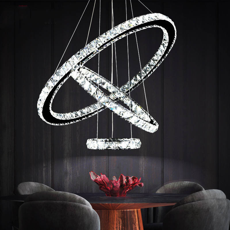 Wholesale crystal hanging decorative circle ring light crystal round ring chandeliers & pendant light