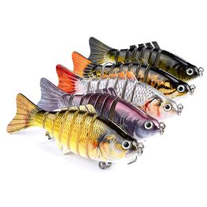 Custom Logo 10cm 15.5g Trout Bionic Lifelike Artificial Plastic 7 Segment Multi Jointed Fishing Lure Hard Swimbait With Packing