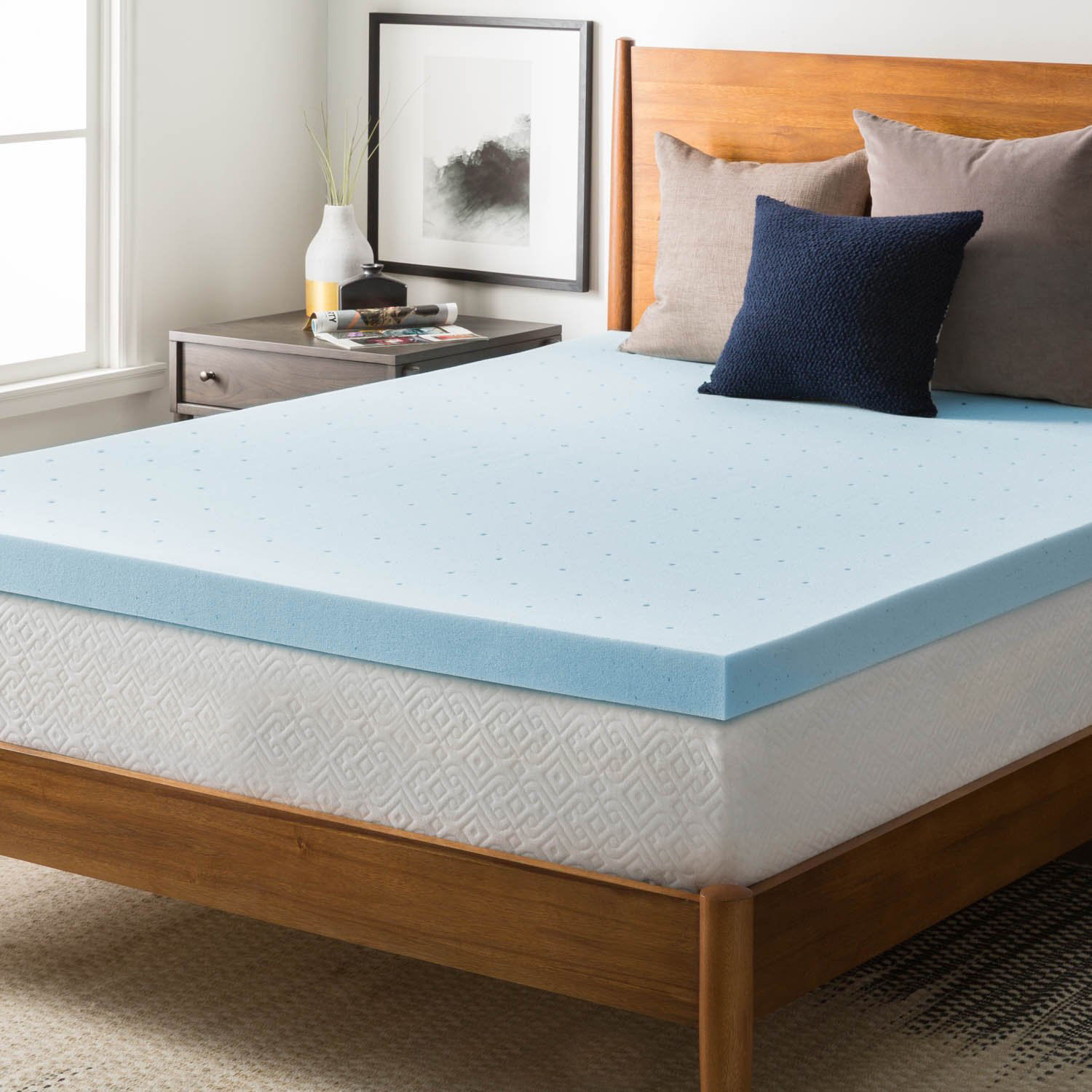 Factory price directly loading bamboo cover memory foam mattress topper gel mattress topper for bedroom furniture