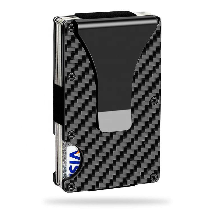 2020 Real Carbon Fiber Minimalist RFID Blocking Card Wallet Holder Metal Mens Wallet with Money Clip