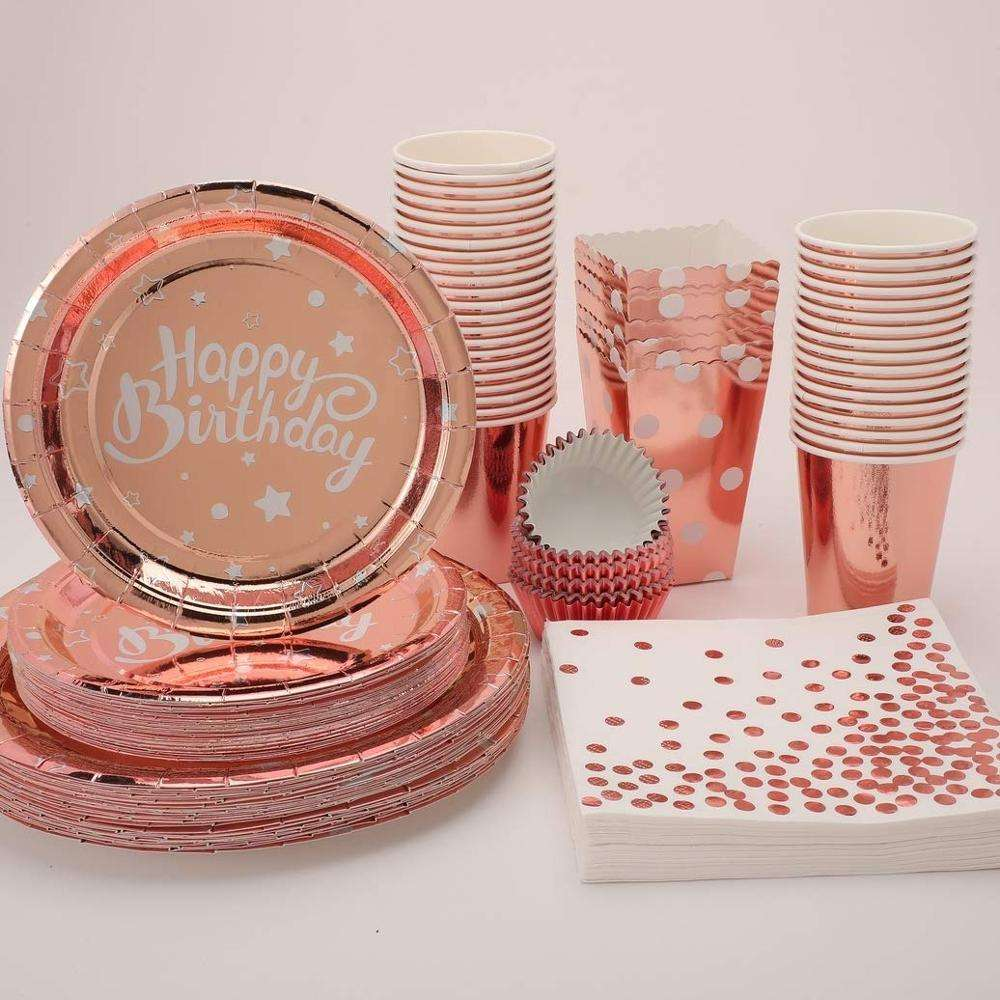 Rose Gold Party Tableware Set Sweet Dishes Large Paper Plates
