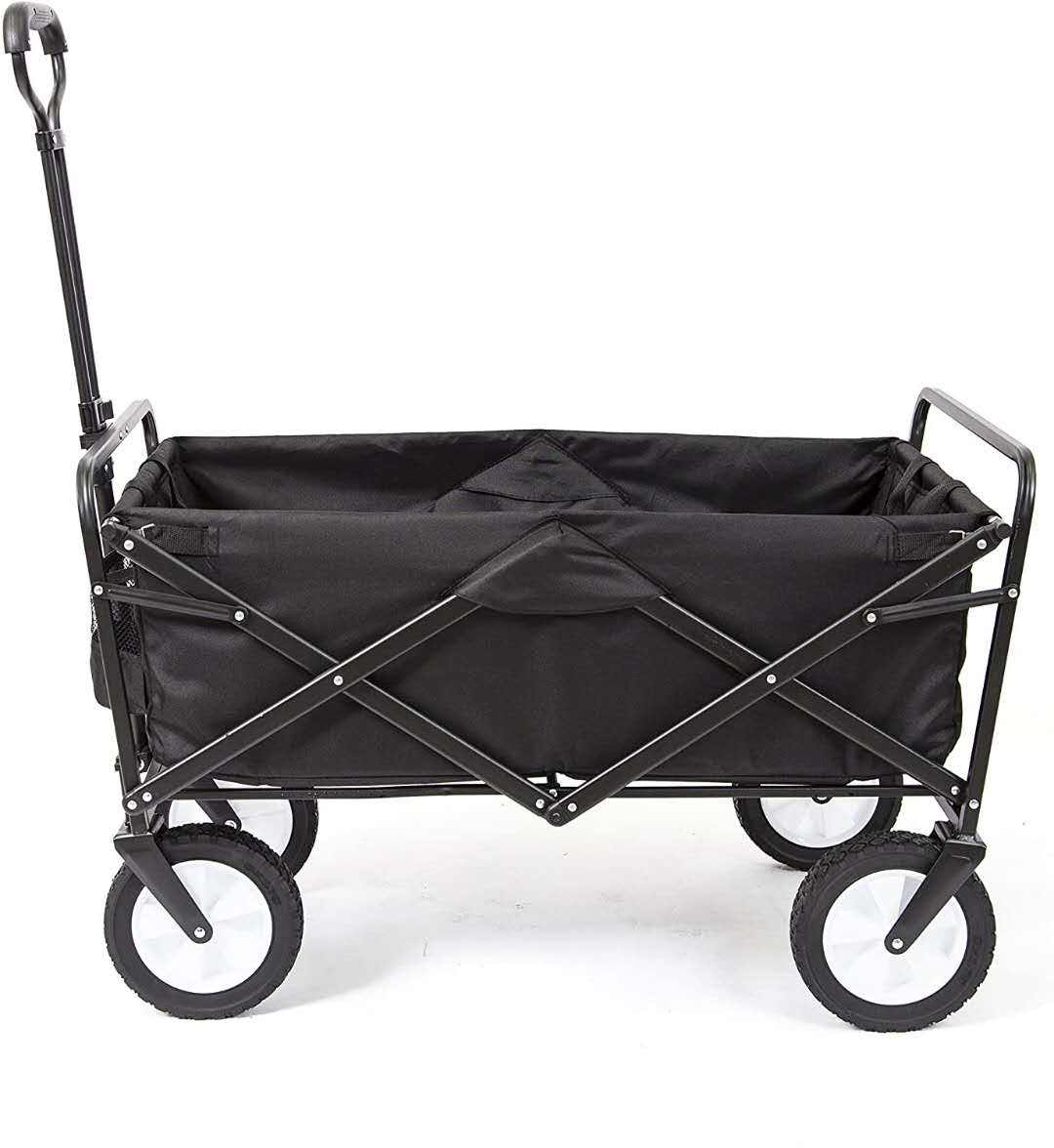 In Stock.Outdoor foldable wagon 4 Wheels Collapsible Utility Cart Portable Storage Basket Garden Beach Trolley
